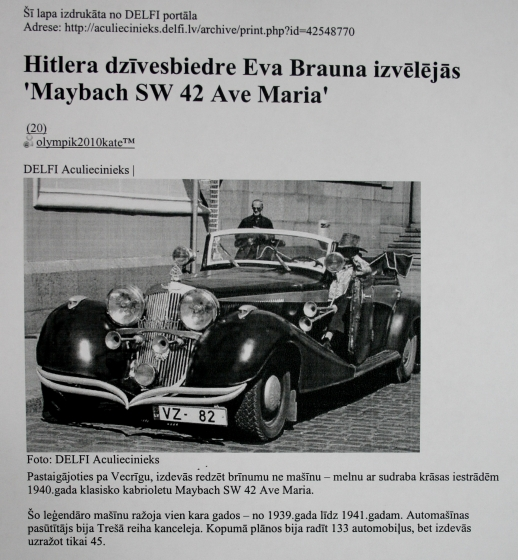 HITLERA DZĪVESBIEDRE EVA BRAUNA IZVĒLĒJĀS '' MAYBACH SW 42 AVE MARIA ''.